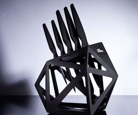 Geometrical Kitchen Equipment - The Black Diamond Knife Block Boasts a Badass Style Aesthetic