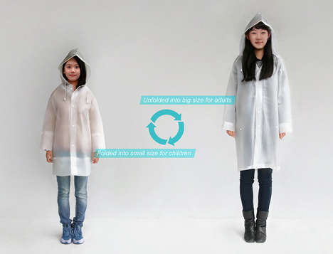 Size-Adjusting Raincoats - The 'Variable Sized Raincoat' Wil Fit Anyone from Children to Adults