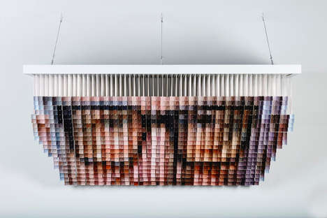 Life-Sized Pixel Portraits - Andrew Myers' Created a Portrait Using Suspended Painted Cubes
