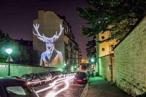 Hipster Animal Projections - These Anthropomorphic Animals are Projected onto the Streets of Paris