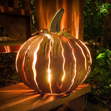 Eerie Metallic Pumpkins - These Desert Steel Pumpkin Lanterns Are Beautifully Crafted From Steel