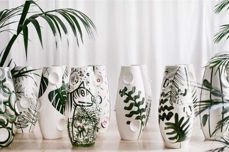 Hand-Painted Jungle Vases - These Incredible Ceramics Feature Jungle Themes with a Leaf Motif