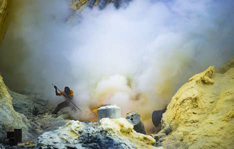 Sulfur Miner Photography - Davide De Conti Captures the Backbreaking Labor of Sulfur Miners