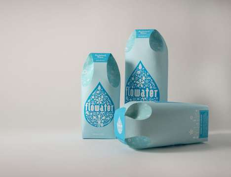 Paper Water Bottle Concepts - Flowater is a Reclaimed Water Brand Concept Based on Tetra Paks