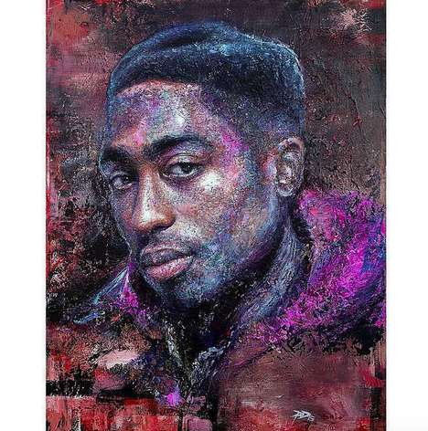 Touching Rapper Portraits - Tupac's Estate Published Twenty Tributes to the Rapper Via Social Media