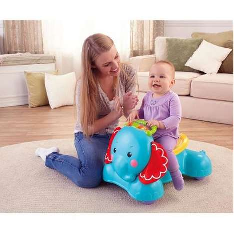 Jungle-Themed Baby Vehicles - The Fisher-Price 3-in-1 'Bounce-Stride & Ride Elephant'