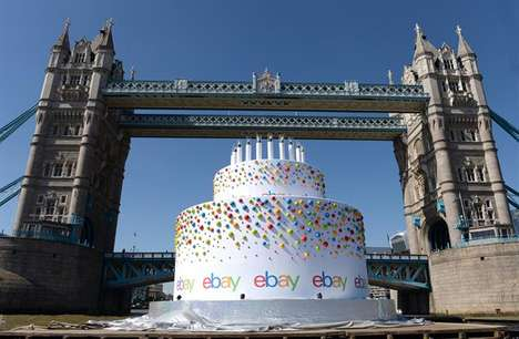 Floating Website Birthday Cakes - The eBay Birthday Cake Floated Down the River Thames