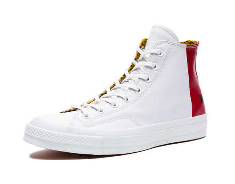 Collaborative Streetwear Sneakers - These White Converse are Given a Splash of Red by Undefeated