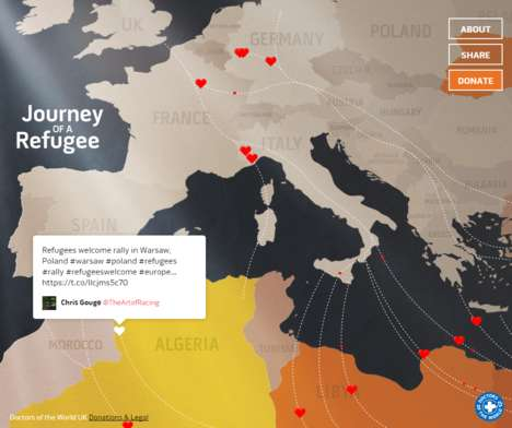 Social Refugee Maps - Doctors of the World's 'Journey of a Refugee' Maps Support on Twitter