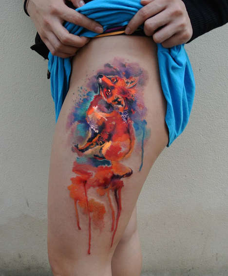 Technicolor Watercolor Tattoos - These Intricate Tattoo Designs Look Like Paintings Done on the Skin