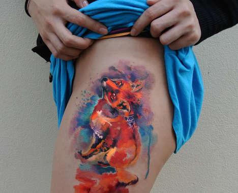 Technicolor Watercolor Tattoos