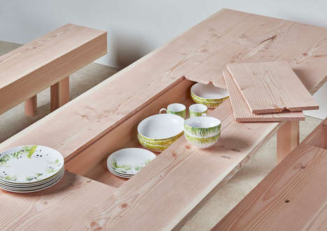 Dish-Storing Tables - This Dining Table Uses Removable Plank Boards to Conveniently Store Dishes