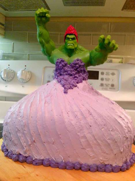 Cross-Dressing Superhero Cakes - This Hulk Princess Cake is a Quirky Homemade Fan Tribute