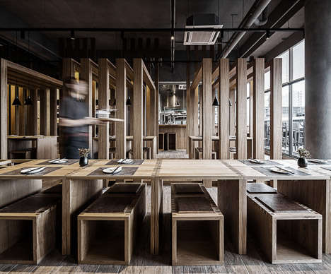 Wooden Slatted Restaurants - The Interior of This Noodle Bar Follows the Pattern of a Wooden Crate