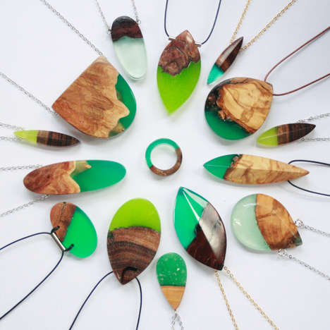 Semi-Natural Wooden Jewelry - These Artistic Accessories are Made of Wood and Resin Materials