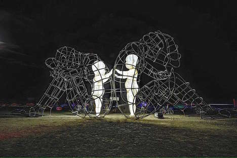 Dynamic Wire-Frame Sculptures - This Wire Art Sculpture Portrays the Conflict of Human Nature