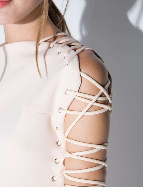 Stringed Party Dresses - Pixie Market's Lace Up Cream Dress Fuses Edgy and Elegant Details