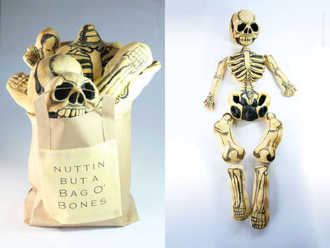 Breaded Skeleton Loaves - This Edible Skeleton is Made from a Variety of Dinner Rolls and Edible Ink