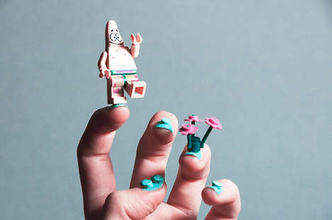 Modular LEGO Manicures - This Nail Art Design Incorporates Colorful Toy Brick Pieces as Accessories