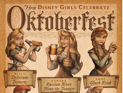 Beer Festival Disney Princesses - These Illustrations Show Disney Princesses Enjoying Oktoberfest