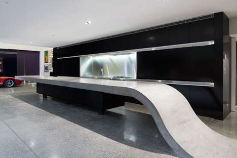 Connected Concrete Countertops - This Concrete Countertop Beautifully Blends into the Floor
