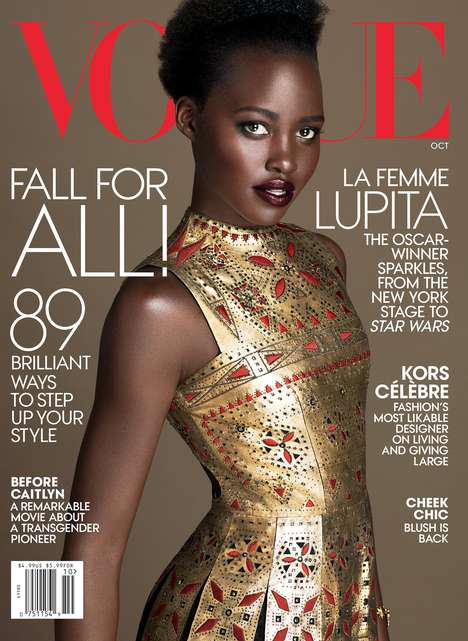 Couture-Clad Actress Editorials - The Latest Vogue October Issue Stars Lupita Nyong'o in Valentino