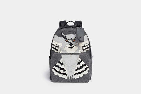 Predatory Graphic Knapsacks - This Valentino Owl Backpack Features a Fierce Realistic Raptor