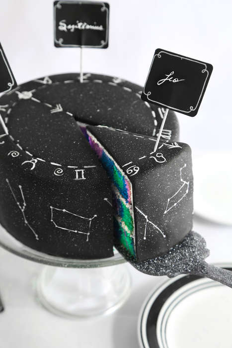 Celestial Astrology Cakes - This Technicolor Decorated Cake Celebrates Zodiac Constellations