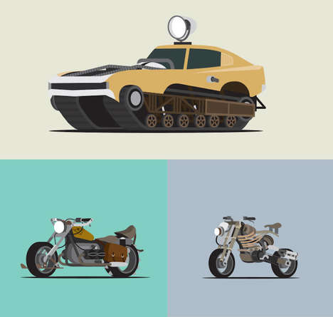 Apocalyptic Vehicle Illustrations - Scott Park Recreated Vehicles from Mad Max Fury Road in Drawing