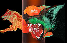 Wolf-Adorned Beer Labels - These Vibrant Wolf-Inspired Beer Labels Creativley Wrap Around the Bottle