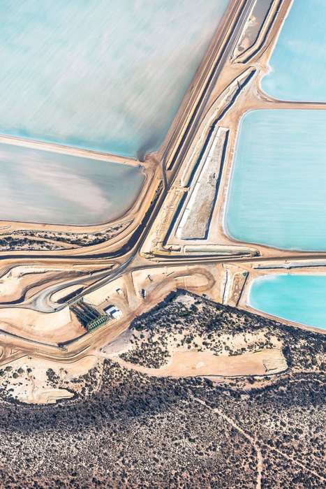 Salty Landscape Photography - Simon Butterworth Captures Painting-Like Aerial Images of Salt Flats