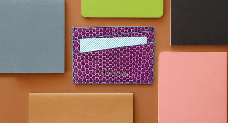 Exotic Card Holders - Striiiipes' Silk and Ostrich Leather Accessories are Artisanal and Elegant
