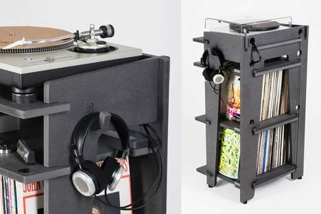 Stacked Turntable Stations - This Musical Storage Unit from Turntable Lab Plays and Stores Records