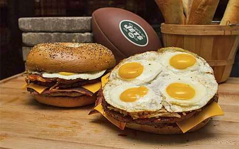 Jumbo Breakfast Bagels - This Enormous New York Jets Sandwich Features Four Eggs and Multiple Meats