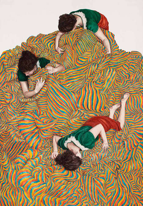 Faceless Fabric Portraits - Monica Rohan's Paintings Depict People Swallowed Up by Fabric