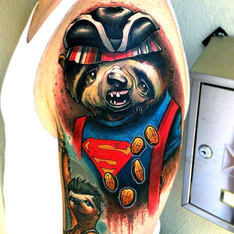 Disguised Sloth Tattoos - These Tribute Tattoos Are Dedicated to Sloths and 80s Movies
