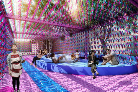 Feather-Made Pavilions - The 'Jianzi Pavilion' is Made with 15,000 Pink & Blue Suspended Feathers