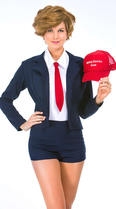Racy Political Halloween Costumes - This Kit Includes a Donald Trump Hair Piece, Hat and Risque Suit