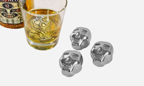Skull-Shaped Steel Cubes - These Stainless Steel Skull Chillers Cool Your Drink Without Dilution