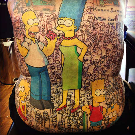 Cartoon Cast Tattoos - This Back Tattoo Features All 200 Characters from The Simpsons