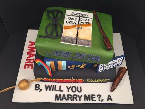 Cinematic Proposal Cakes - This Romantic Cake Combined Film and Television Titles