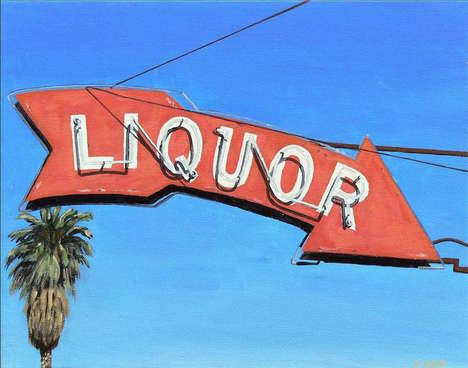 Nostalgic California Paintings - These Images by Michael Ward Feature Streets & Signs of California