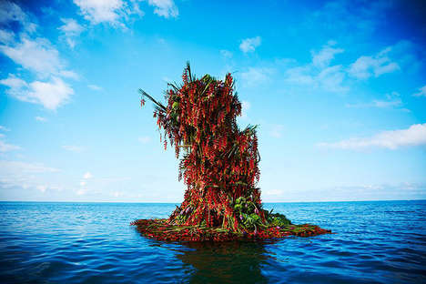 Floating Flower Sculptures - This Giant Bouquet Was Launched Out to Sea in the Philippines