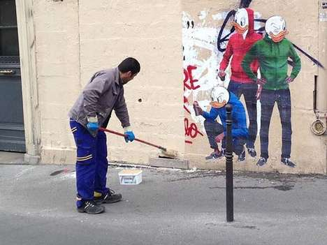 Anti-Street Art Graffiti - This Street Artist Painted a Picture of His Work Getting Erased