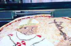 Religious Portraiture Pizzas - This Cheese Pizza is Decorated with Toppings to Look Like the Pop