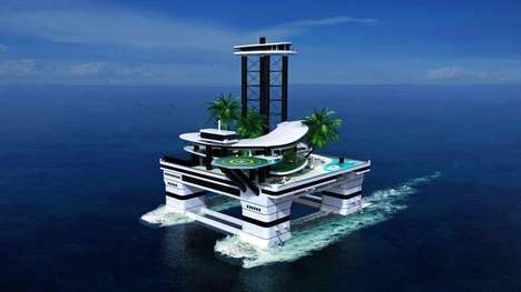 Submarine-Carried Islands - This Man-Made Island of Luxury Floats Atop the Roofs of Submarines