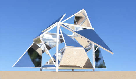 Shape-Shifting Pavilions - This Mirrored Cube Transforms into a Geometric Structure