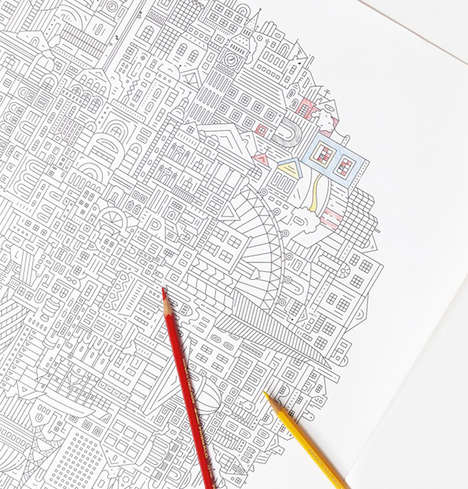 Topographic Coloring Pages - The 'The City Works' Map is an Intricate Fill-in-the-Lines London Scene