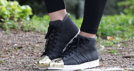 Gold-Tipped Sneakers - The New adidas Pro Model Features Reptillian Skin with Metallic Toe Shells