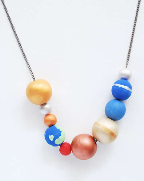 Solar System Necklaces - This Handmade Jewelry Piece Features Beads Themed After the Planets